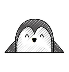 cute penguin face cartoon vector image vector image