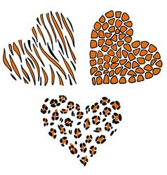 heart leopard tiger giraffe vector image