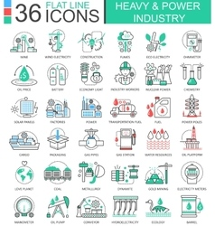 Heavy and power industry flat line outline vector image