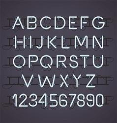 Neon Light Alphabet Font vector image vector image