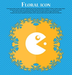 pac man icon sign Floral flat design on a blue vector image vector image