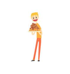 happy man holding festive cake cartoon vector image