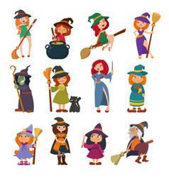 cute little witch hag harridan vixen with broom vector image vector image