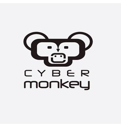 cyber monkey computer shop design template vector image vector image