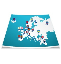 Europe map with flag pin vector