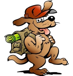 Hand-drawn of an Traveling Backpacker Dog vector image vector image