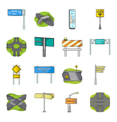 road junctions and signs and other web icon in vector image