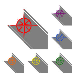 wind rose sign set of red orange yellow green vector image