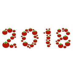 2018 year text composition of tomato vector image