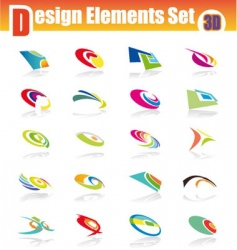 3d design elements set vector image