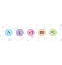 5 striped icons vector