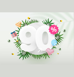 90 percent off discount creative composition vector