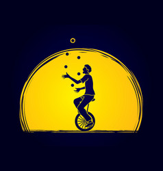 A man juggling balls while cycling on bicycle vector