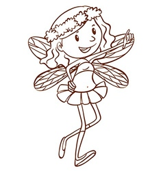 A simple sketch of a cute fairy vector