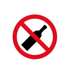 alcohol not permitted allowed sign bottle glass vector image