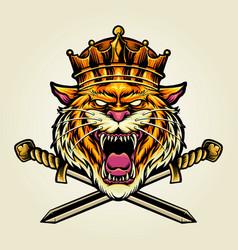 angry king tiger sword logo vector image