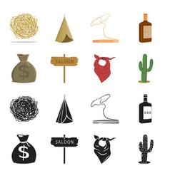 bag money saloon cowboy kerchief cactus vector image