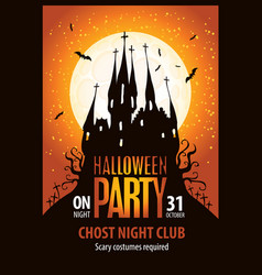 Banner for halloween with scary gothic castle vector