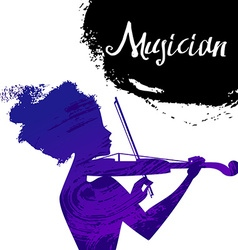 Beautiful musician girl silhouette with violin vector image