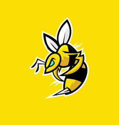 Bee e sports logo design on yellow background vector