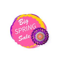 big spring sale advertisement sticker watercolor vector image