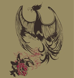 bird vintage print vector image