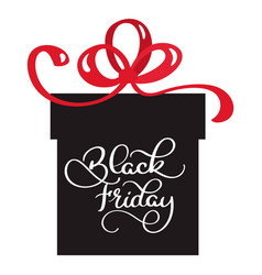 black friday sale inscription on the gift vector image