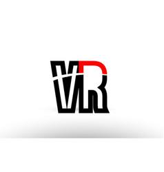 Black white alphabet letter vr v r logo icon vector