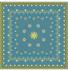 Blue handkerchief with yellow ornament vector