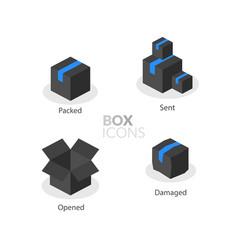 box logo template flat icons set vector image