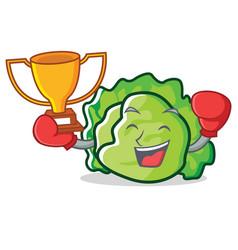 Boxing winner lettuce character mascot style vector