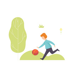 Boy playing ball in park kid having fun outdoors vector