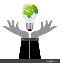 Business people holding an electric light bulb vector image