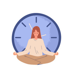 Calm person meditating near clocks and finding vector