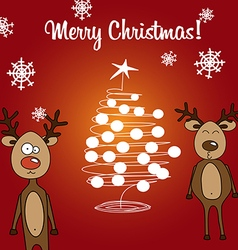 Card reindeer Rudolph and Christmas tree vector