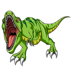 Cartoon angry green dinosaur growling vector