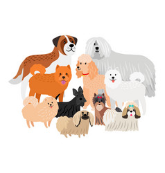 Cartoon character loing hair big and small dogs vector