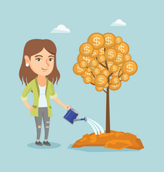Caucasian businesswoman watering money tree vector