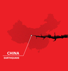 china earthquake concept on cracked map vector image