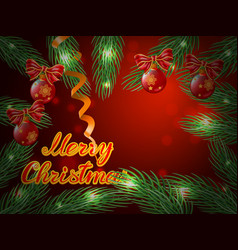 christmas background with balls and tree vector image