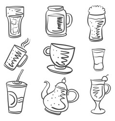collection drink various of doodle style vector image
