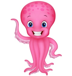 Cute cartoon octopus waving vector image