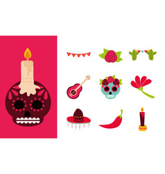 day dead mexican celebration traditional vector image