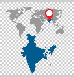 detailed map of india and world map navigation vector image