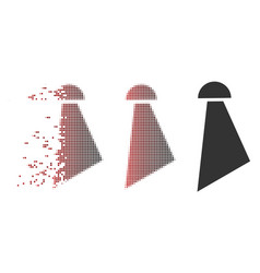 Disintegrating pixel halftone spray icon vector