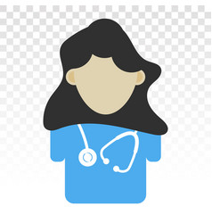Doctor and stethoscope flat icon on a transparent vector
