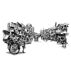 drawing india cityscape show local market vector image