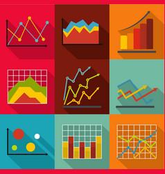 Economic study icons set flat style vector