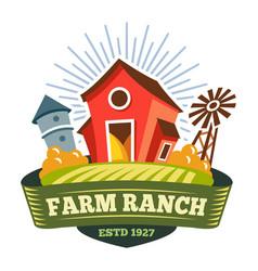 farm ranch farmer food product organic bio label vector image