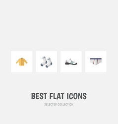 Flat icon garment set banyan foot textile vector